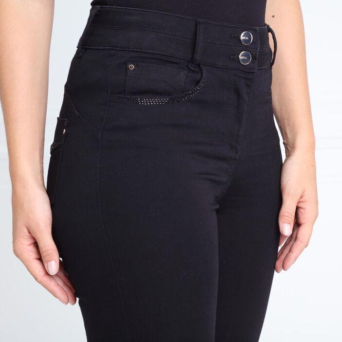 Pantalon ajusté taille haute avec strass noir femme