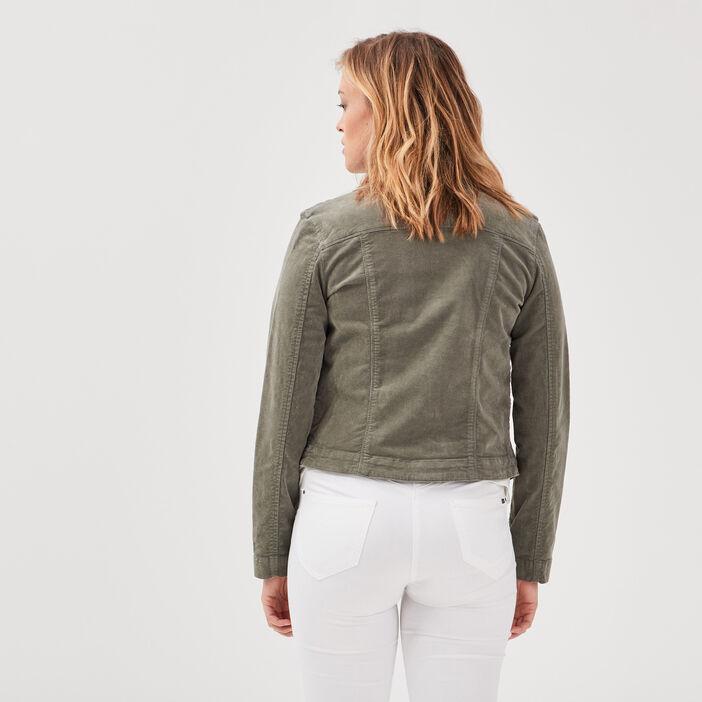 Veste droite effet velours vert kaki femme