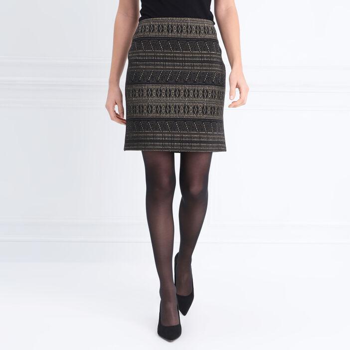 Jupe droite taille élastiquée noir femme