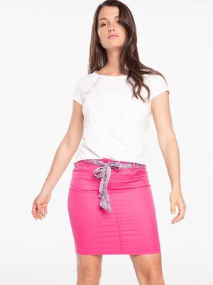 Jupe droite avec ceinture tissu imprime rose fushia femme