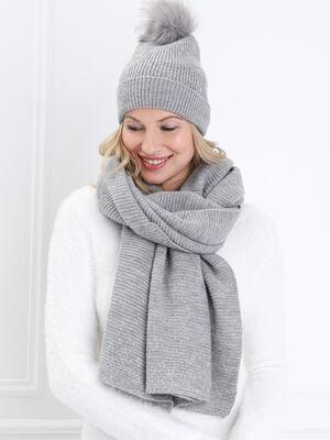 Lot bonnet et echarpe strass gris clair femme