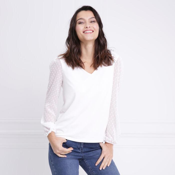 T-shirt manches longues col V ecru femme