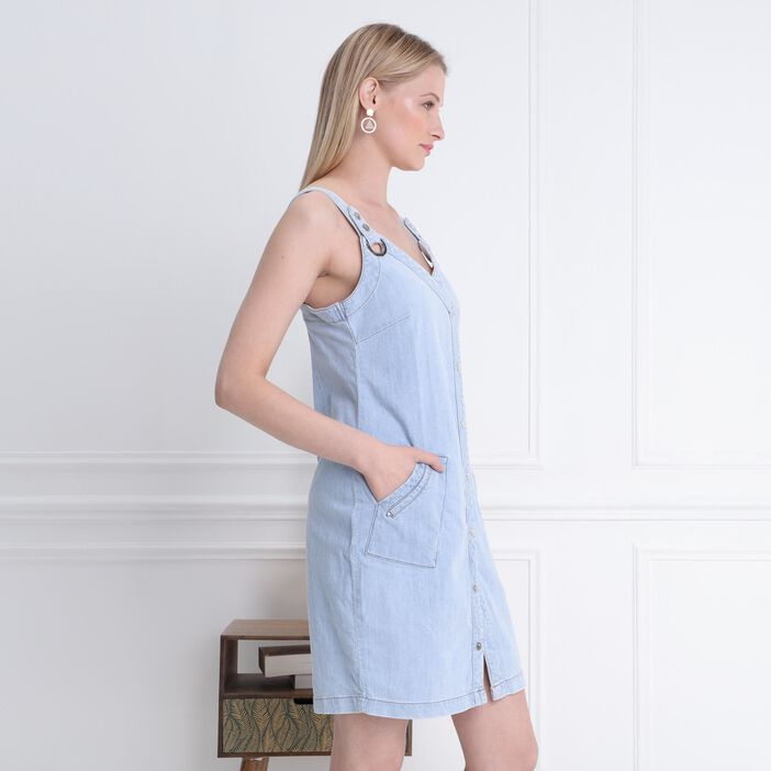 Robe Denim à bretelles denim bleach femme