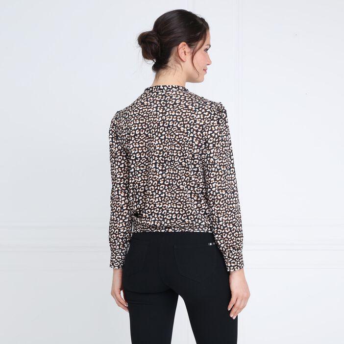 T-shirt imprimé manches longues noir femme