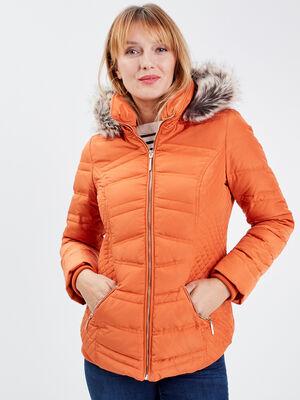 Doudoune droite a capuche orange femme