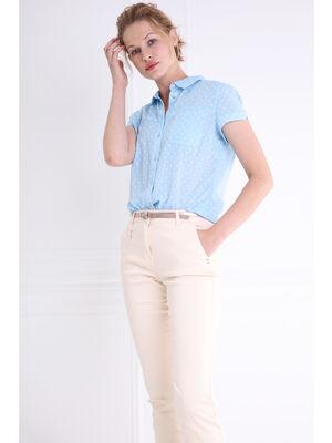 Pantalon taille standard 78e ceinture sable femme