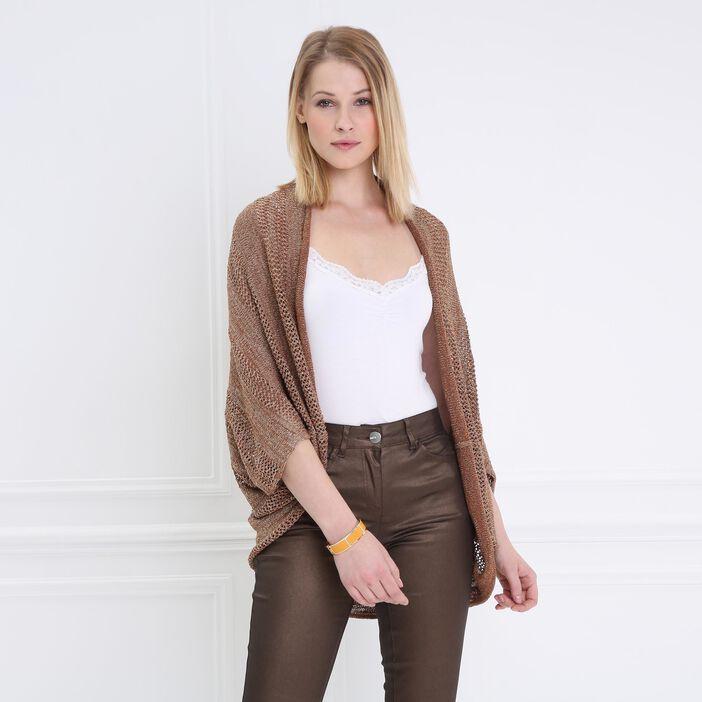 Cardigan manches 3/4 mi-long marron clair femme