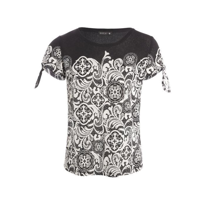 T-shirt manches courtes nouées noir femme