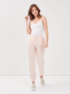 Pantalon flou taille haute rose poudree femme