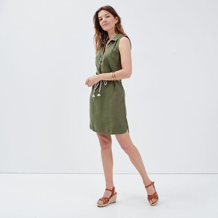 Robe droite ceinturée vert kaki femme