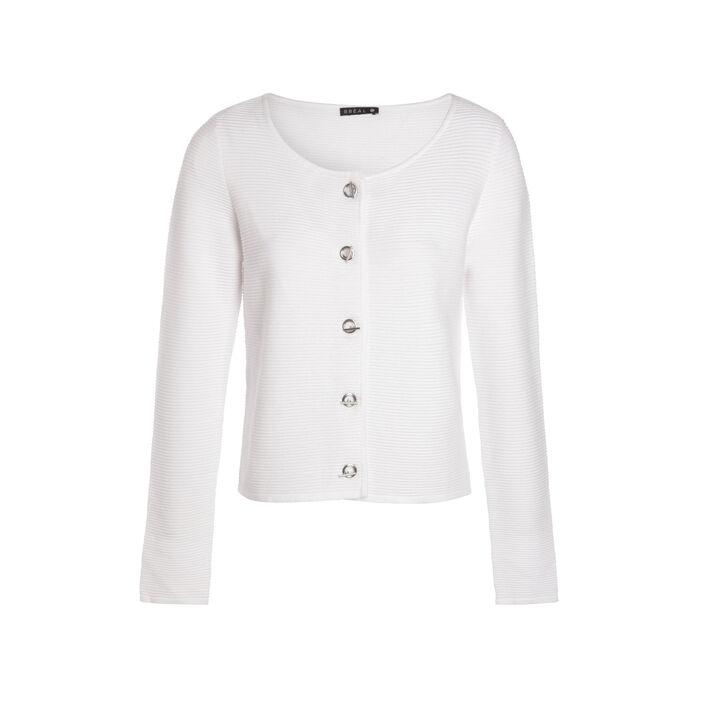 Gilet manches longues col rond blanc femme