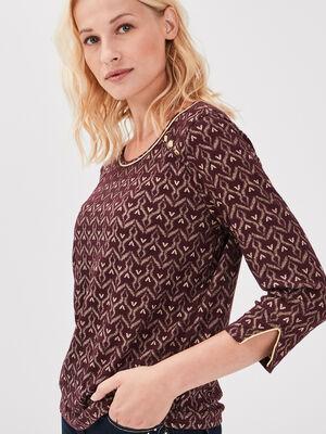 T shirt manches 34 violet fonce femme
