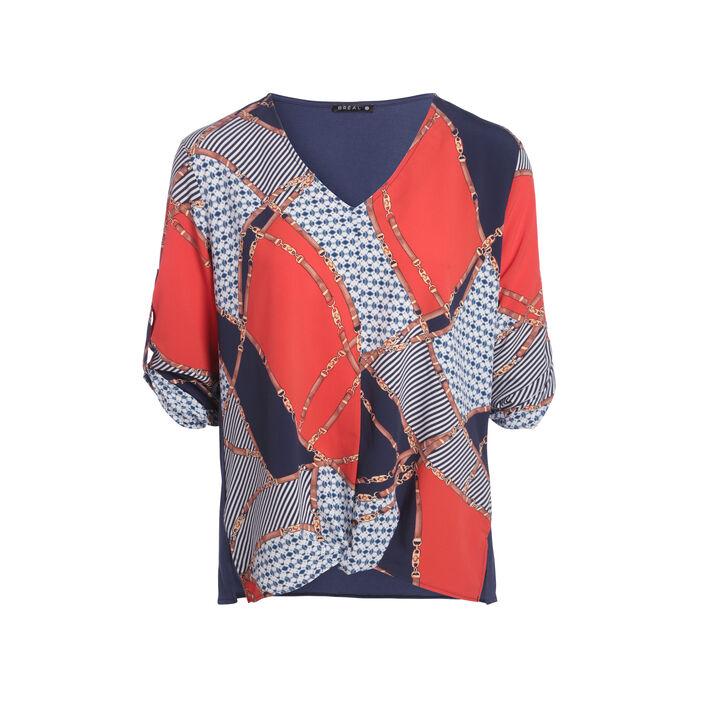 T-shirt manches 3/4 effet noué multicolore femme