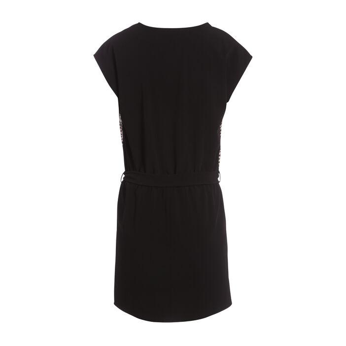 Robe courte ajustée col en V noir femme