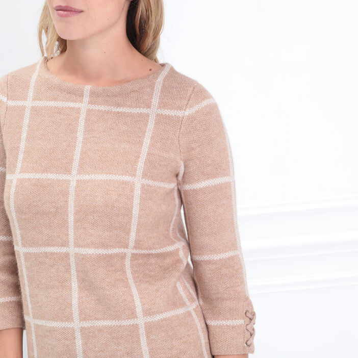 Pull manches 3/4 col rond marron clair femme