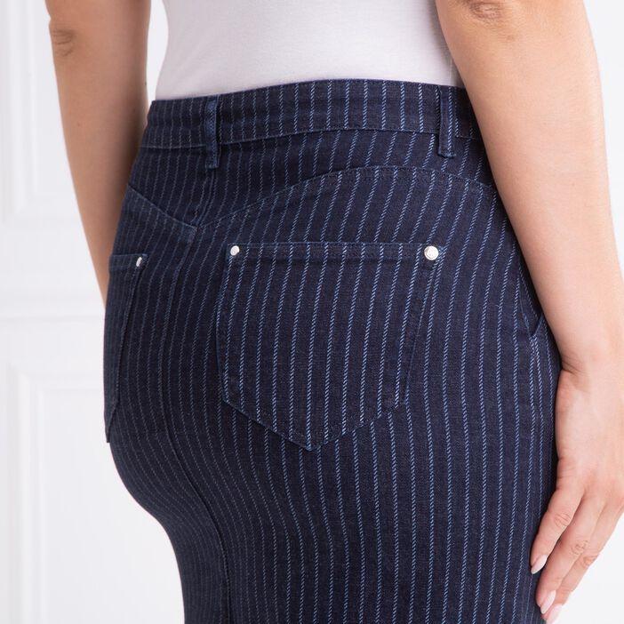 Jupe courte droite rayures denim brut femme
