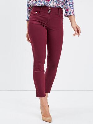Pantalon ajuste avec strass bordeaux femme