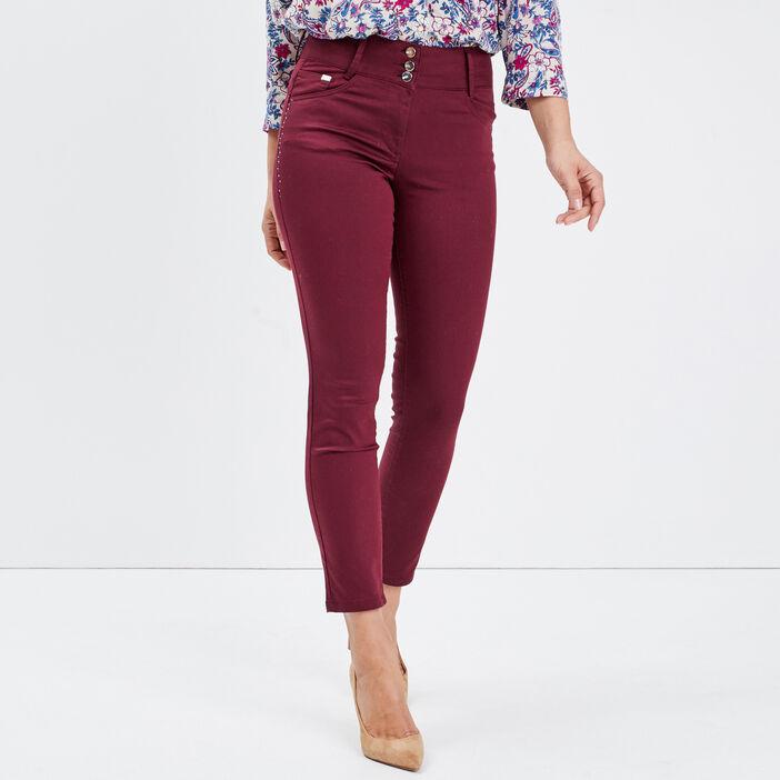 Pantalon ajusté avec strass bordeaux femme