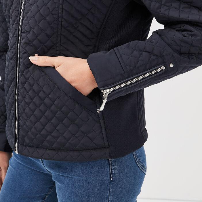 Doudoune droite zippée bleu foncé femme