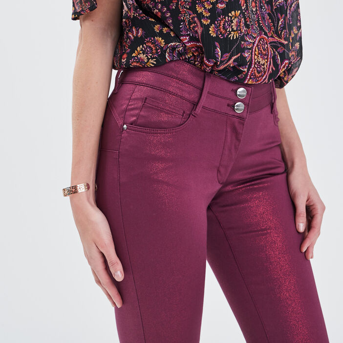 Pantalon ajusté 7/8ème rose framboise femme