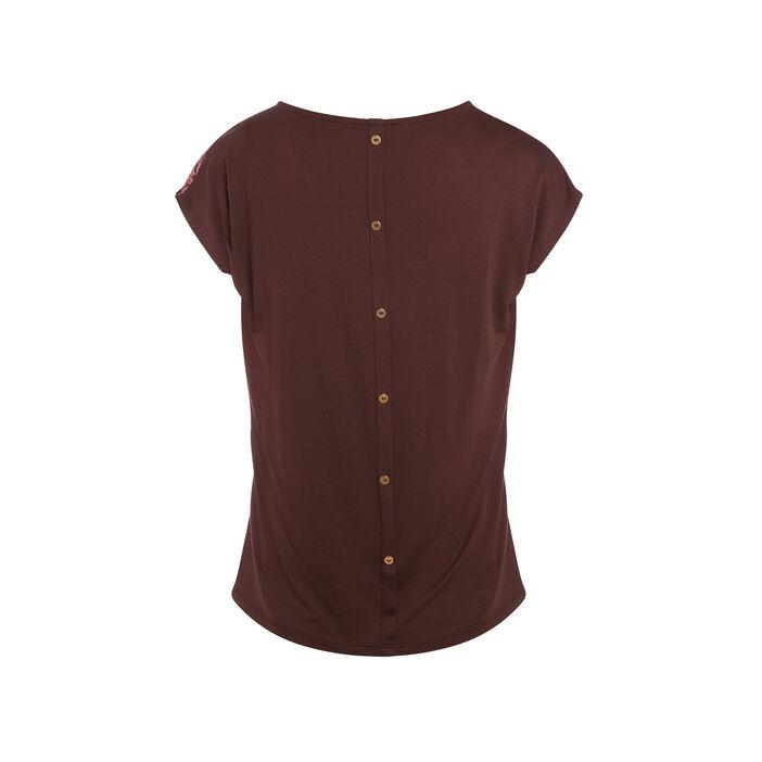 T-shirt manches courtes marron foncé femme
