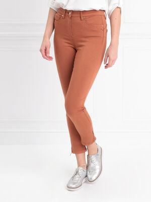 Pantalon ajuste taille haute marron cognac femme