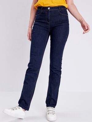 Jeans droit taille standard denim brut femme