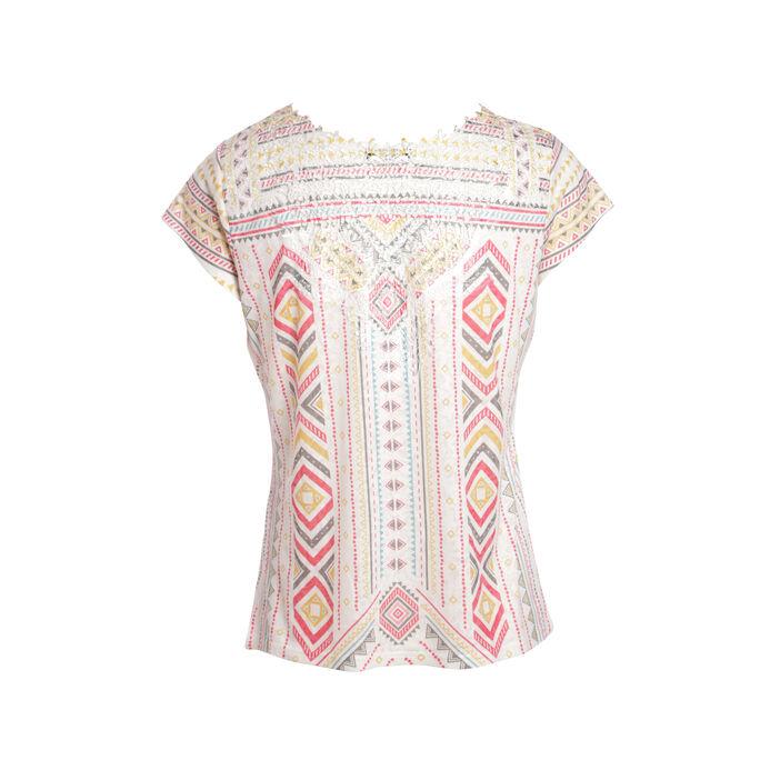 T-shirt manches courtes imprimé blanc femme