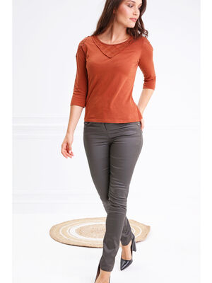 Pantalon taille haute ajuste enduit vert fonce femme