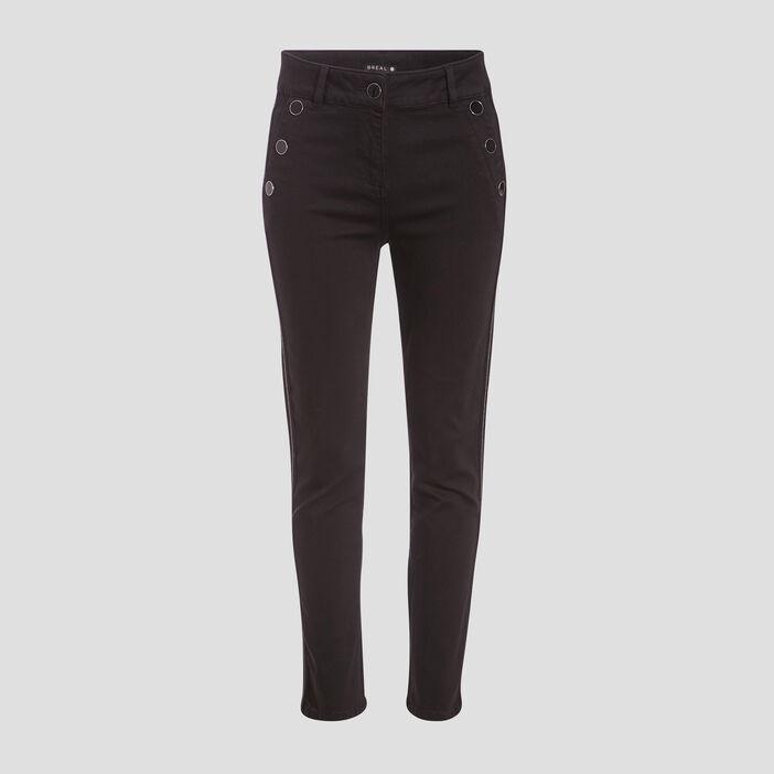 Pantalon ajusté effet pont noir femme