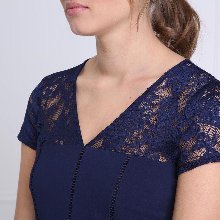 Robe courte cintrée dentelle bleu foncé femme