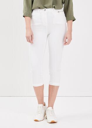 Pantacourt taille haute blanc femme