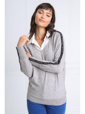 Pull manches longues 2 en 1 gris clair femme