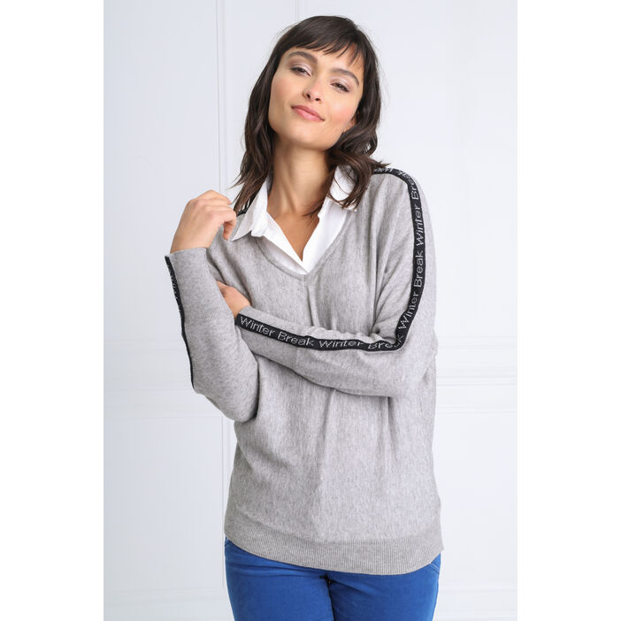 Pull manches longues 2-en-1 gris clair femme