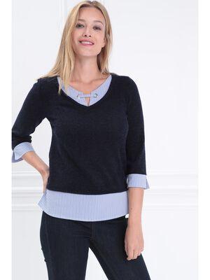 T shirt manches 34 2 en 1 bleu marine femme