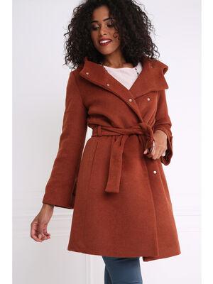 Manteau peignoir large capuche marron fonce femme