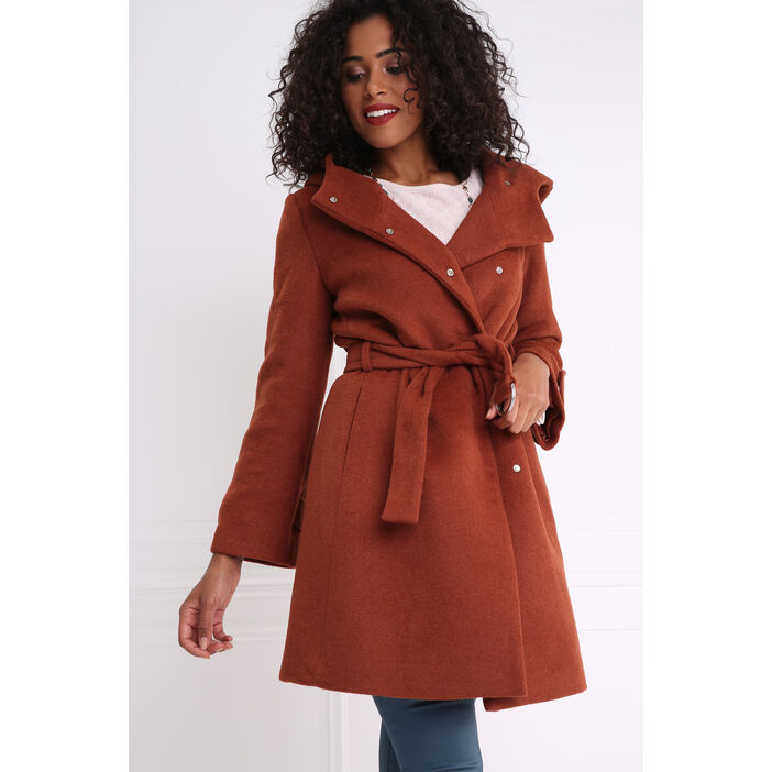 Manteau peignoir large capuche marron foncé femme