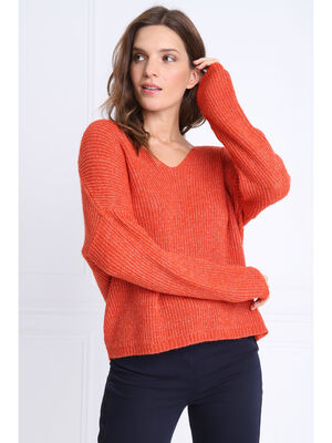 Pull manches longues col en V rouge corail femme