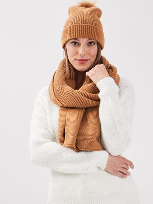 Lot bonnet et echarpe strass marron clair femme