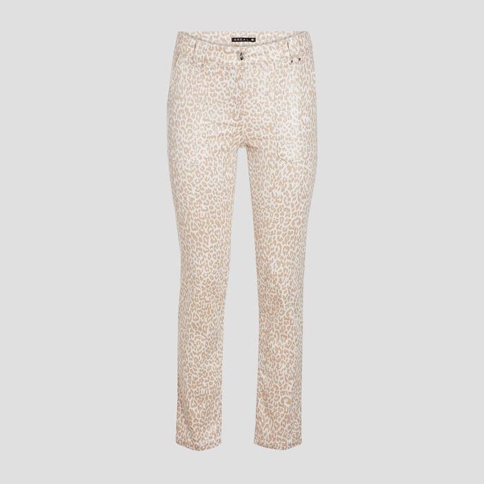 Pantalon droit taille standard beige femme