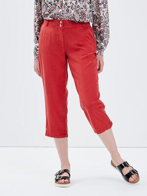 Pantacourt ample taille haute rouge fonce femme