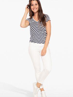 Pantalon taille standard ajuste ecru femme