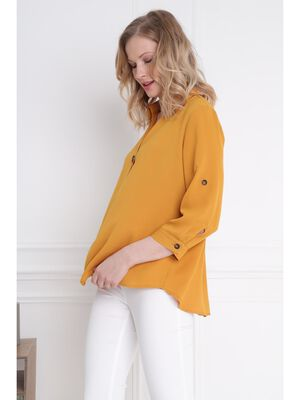 Chemise unie manches longues jaune or femme