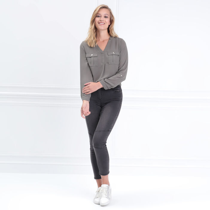 Pantalon ajusté zippé noir femme