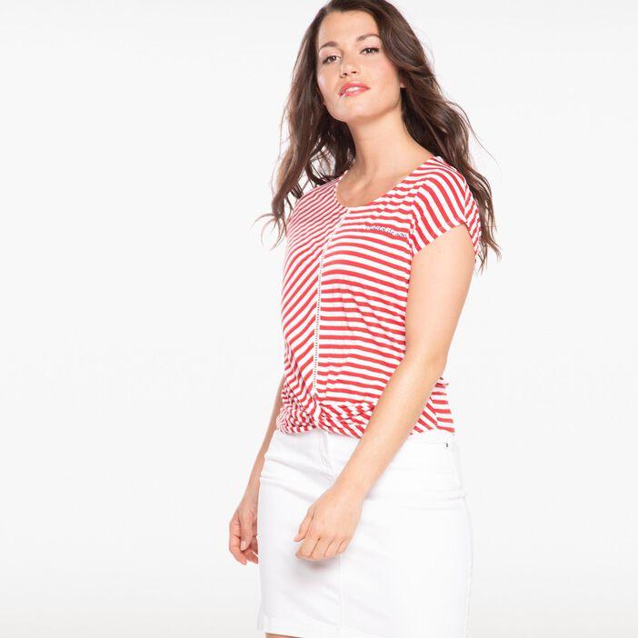T-shirt col rond rayures esprit marin violet femme