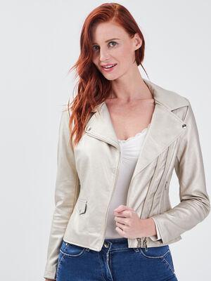 Veste droite zippee beige femme