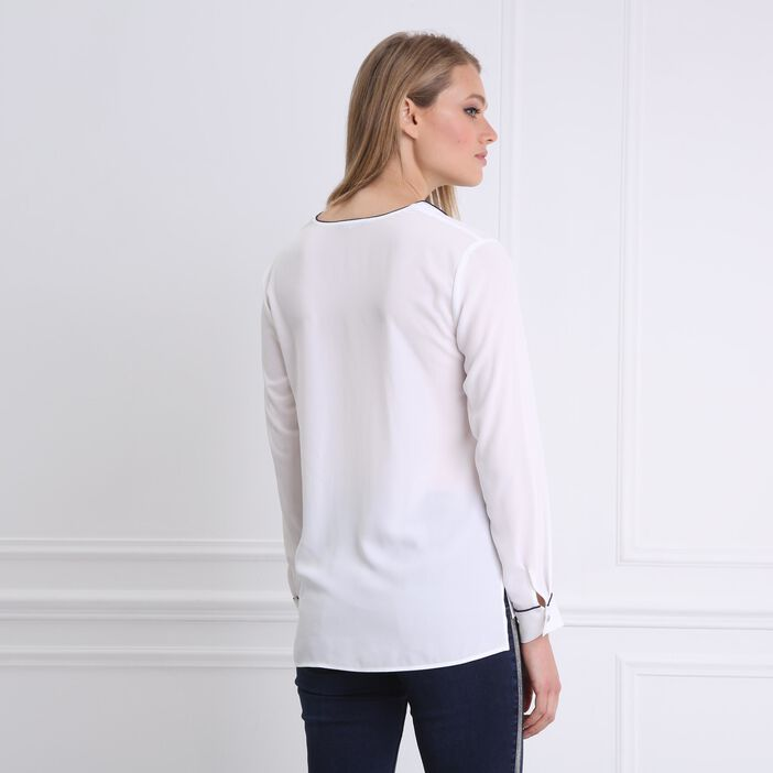 Chemise unie manches longues blanc femme
