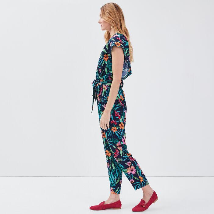 Combinaison pantalon ceinturée bleu marine femme