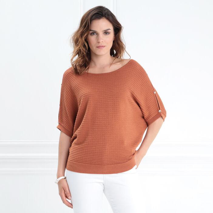 Pull manches courtes évasé orange foncé femme
