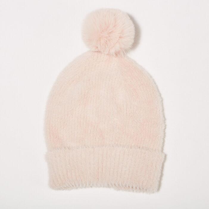 Lot bonnet et écharpe rose femme